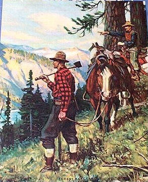 Goodwin Print Rare Forest Rangers Mint Condition And Color Found In A Brown Bigelow Salesman Sample Case